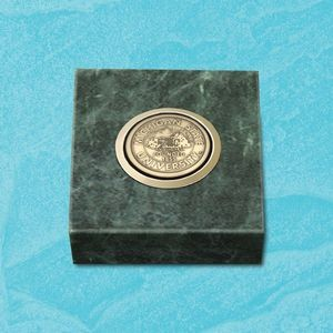 "Green Marble Paperweight w/Medallion (3""x3"")"