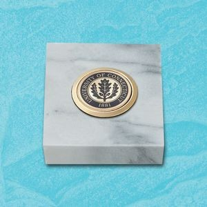 "White Marble Paperweight w/Medallion (3""x3"")"