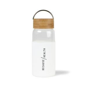 Tahiti Bamboo Glass Bottle - 18 Oz. - White