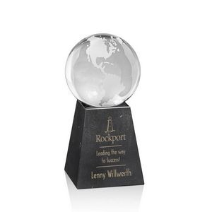 "Globe on Tall Marble Base - 2-3/8"" Diam"