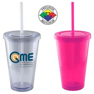 16 Oz. Magenta Pink Acrylic Double Wall Chiller Cup & Straw (Screen Printed)