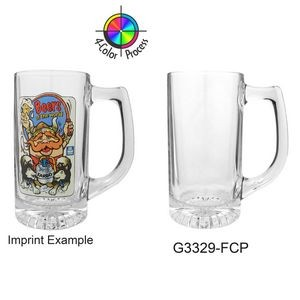 13 Oz. Clear Glass Sport Beer Mug (4 Color Process)