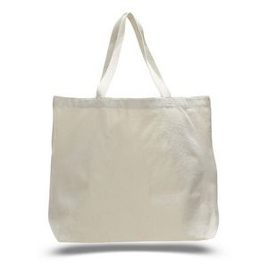 "Organic Lightweight Natural Canvas Jumbo Tote Bag w/ Squared Bottom - Blank (20""x15""x5"")"
