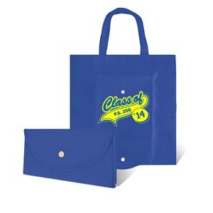 "Foldable Non Woven Tote Bag w/ Snap Closure - 1 Color (14 3/4""x14 3/4"")"